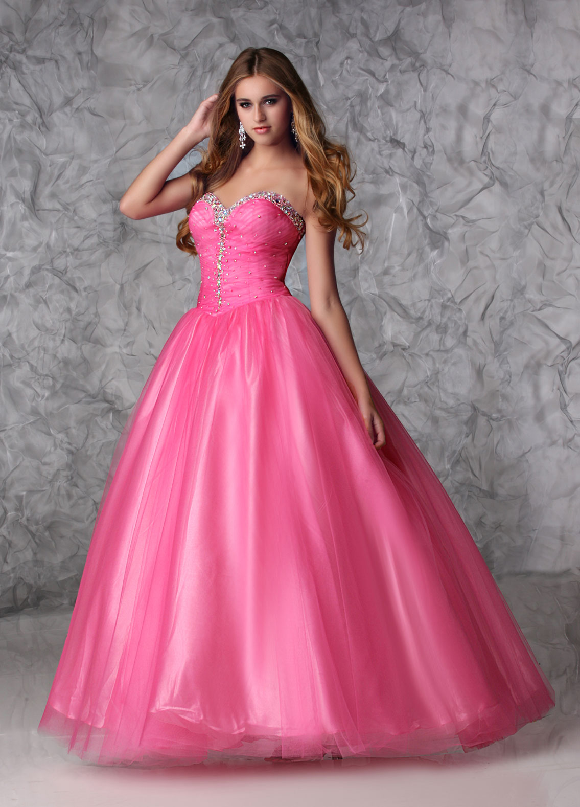 Hot Pink Prom Dresses with Diamonds