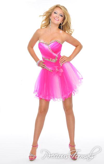 Short prom dress with illusion fabric