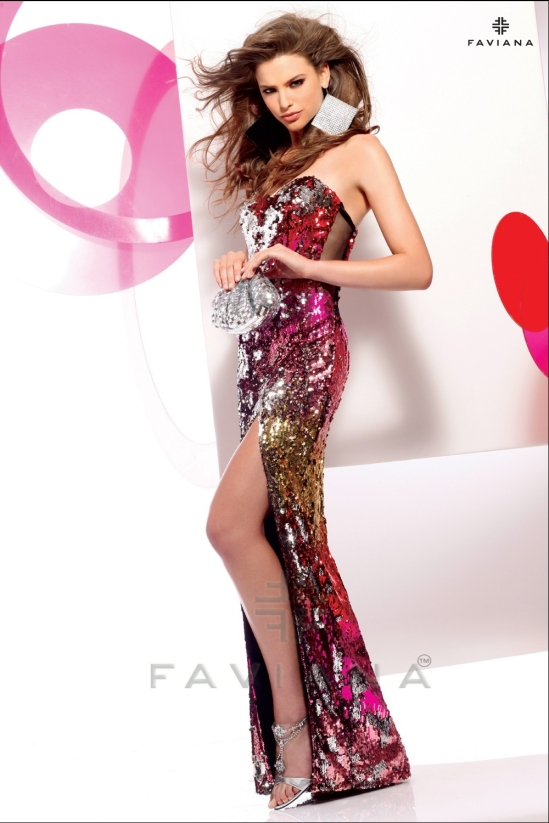 Long sequined prom dress with mesh side inserts 7106