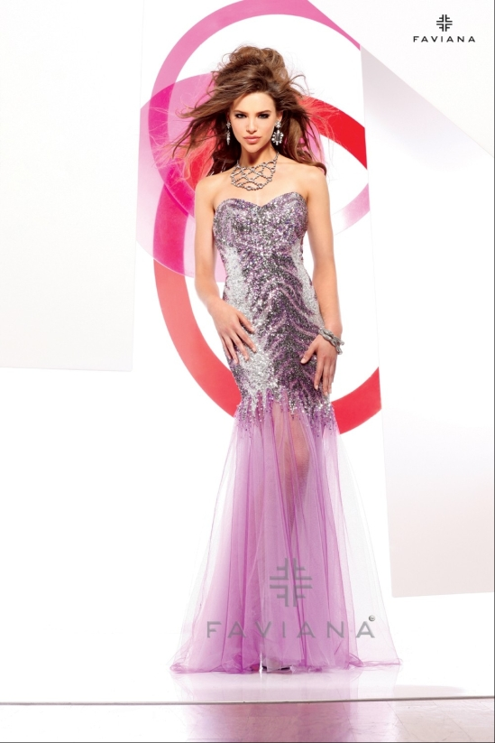 Sequin print prom dress style 7154