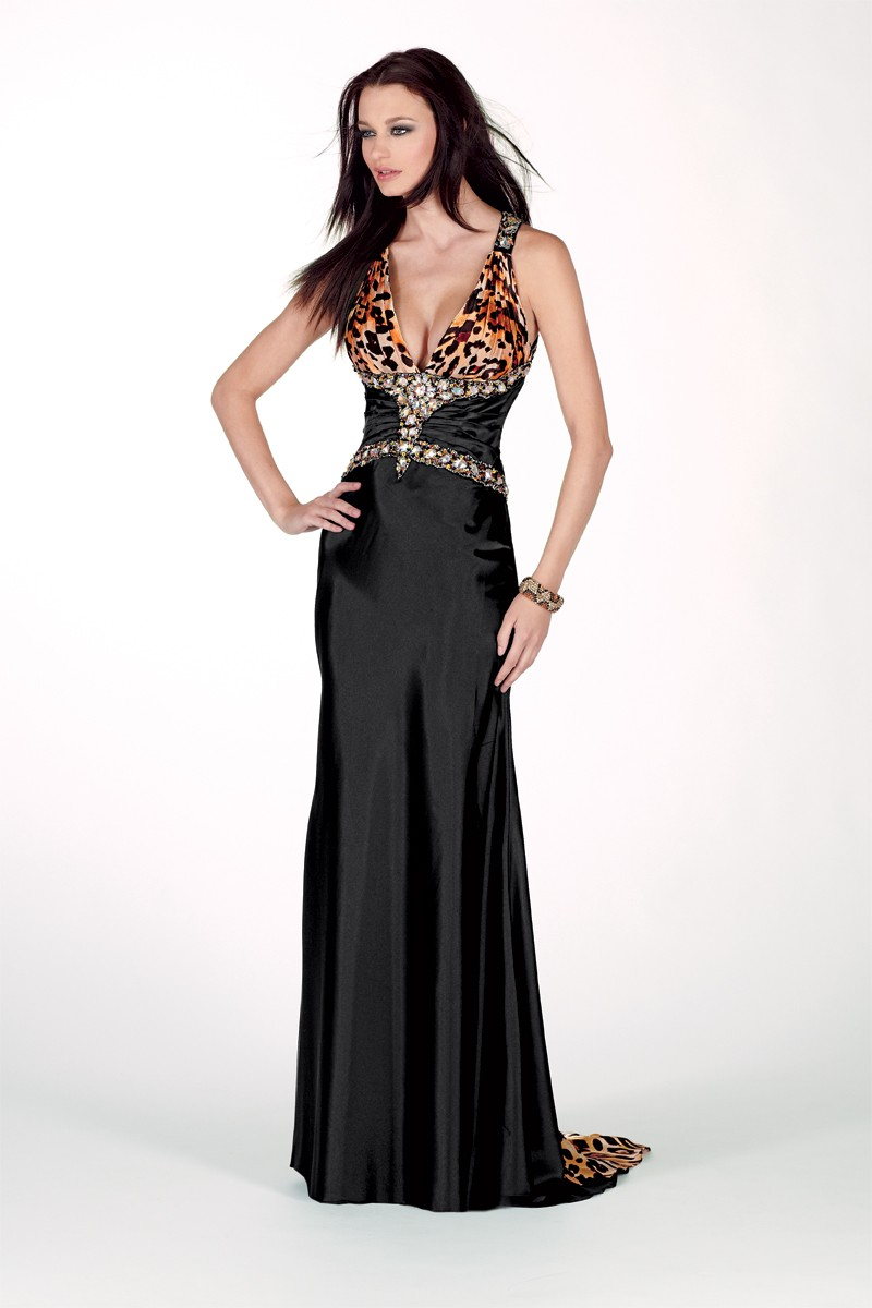 See the Alyce long print prom dress.