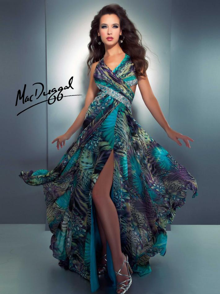Cassandra Stone by Mac Duggal peackock print prom gown.