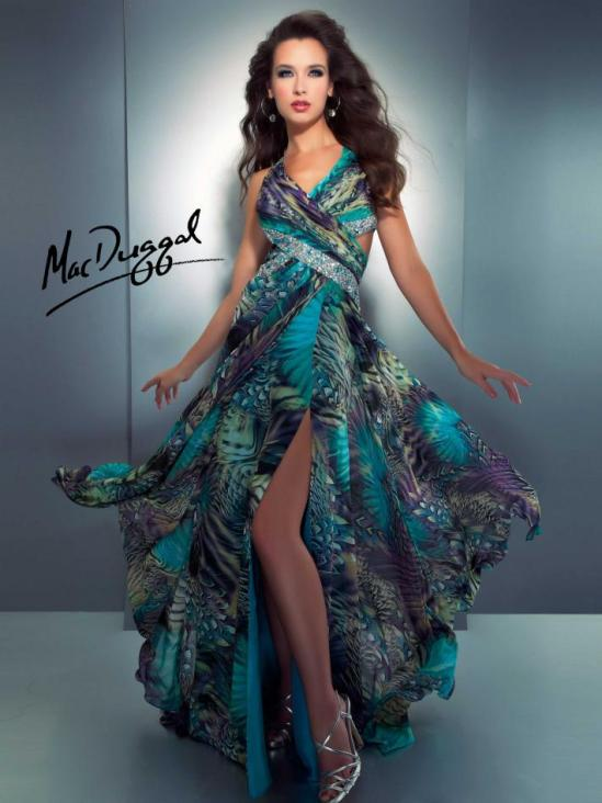 Cassandra Stone by Mac Duggal peackock print prom gown.