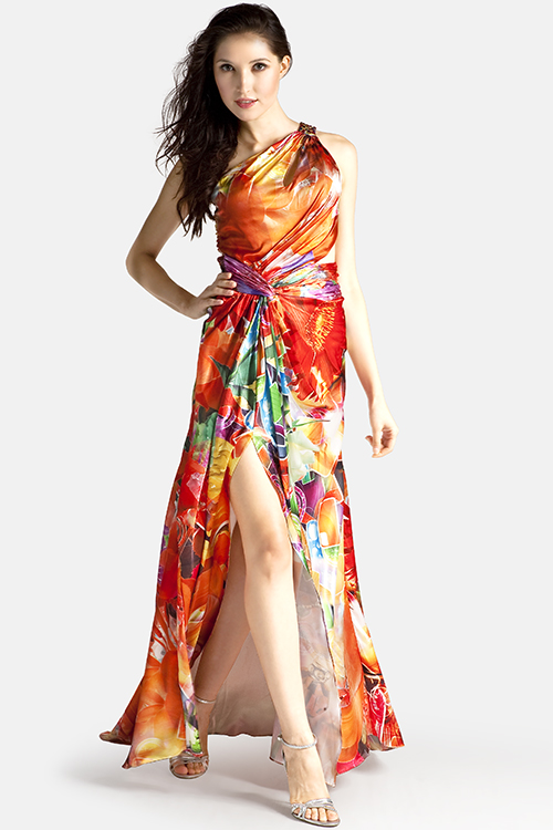 See this Colors 0302 print style one shoulder dress.