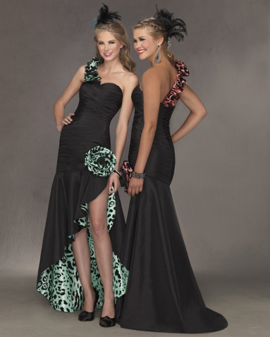 One shoulder print prom gown by Fame.
