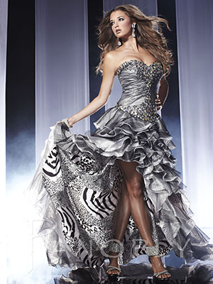 Panoply 14560 high low print prom dress.