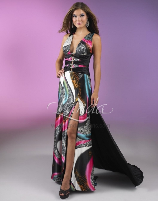 Splash prom dress with print for 2013.