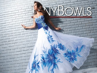 Tony Bowls Le Gala long print prom dress #113522.