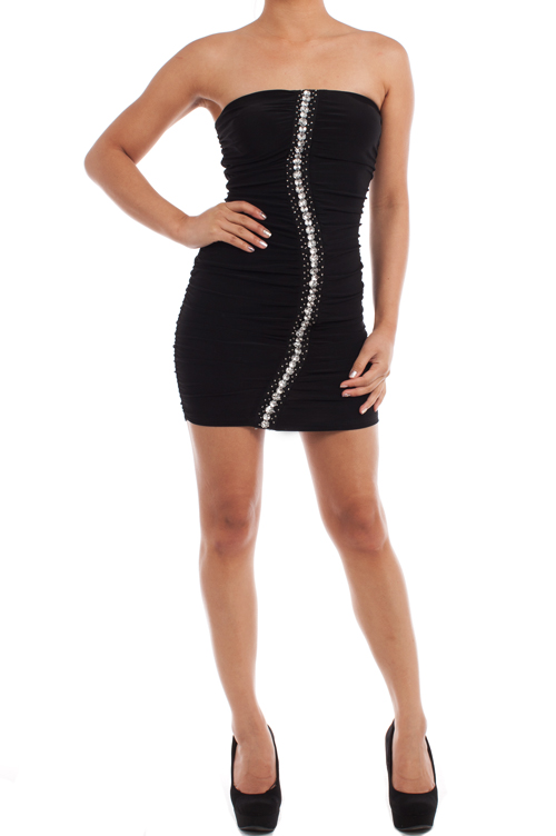 Tube mini dress with accents